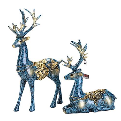 su-luoyu 2 pcs kreative Hirsch Weinregale Ornamente nordischen Stil zu Hause Wohnzimmer Weinschr?nke Kleinm?bel Handwerk Blau