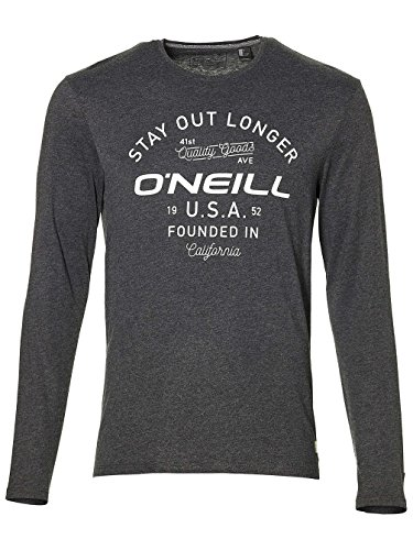 O'Neill Herren Stay Out l/SLV T-Shirt Tees, Dark Grey Melee, S (Crew Tee Bio-l/s)
