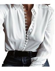 Hiroo 2017 Lo nuevo Otoño Invierno Manga larga Blusa Cuello V Sexy Botón superior delantero Cuello hacia abajo Camiseta blanca casual Grande para el partido diario del deporte (blanco, S)