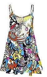 Ladies Women Printed Cami Swing Dress Top Plus Size UK 8-22