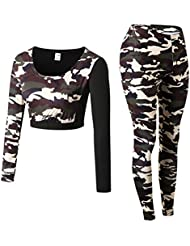 Zhhlinyuan Women Camouflage Long Sleeve Crop Tops & High Waist Leggings Tracksuit Outfits Fitness Workout Quick Dry Breathable Sweatsuits