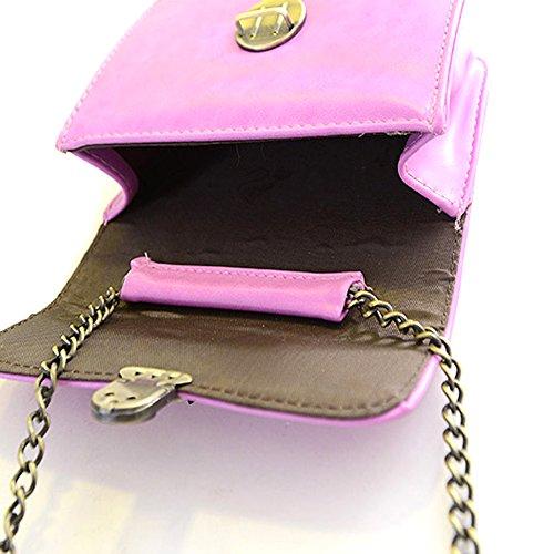 GSPStyle Damen Handtasche Schulterkette Cross Body Taschen Mit Metallschloss Lilarot