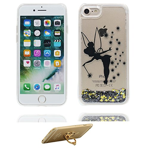"iPhone 7 Coque, Skin Hard Clear étui iPhone 7, fée Design Glitter Bling Sparkles Shinny Flowing Apple iPhone 7 Case Cover 4.7"", résistant aux chocs et ring Support # 4"