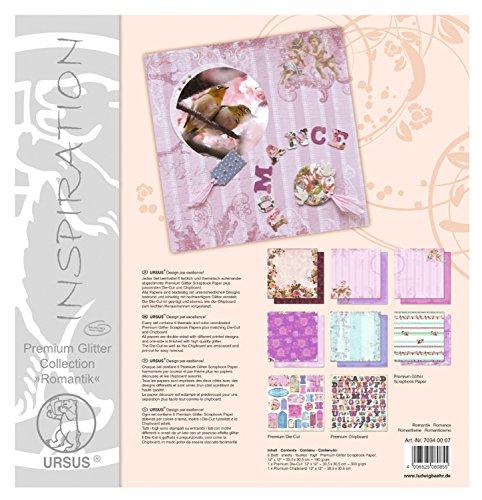 Ursus 70340007 - Premium Glitter Collection Romantik, ca. 30,5 x 30,5 cm, 6 Blatt Papier, 1 Die-Cut...