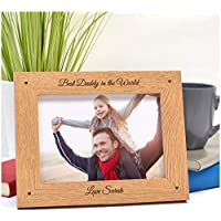 "BEST DADDY Personalised Fathers Day Gifts for Daddy, Dad, Grandad ENGRAVED Photo Frame - First Fathers Day Gifts - Dad, Daddy, Grandad, Step Dad - ANY RECIPIENT - 5"" x 7"" and 6"" x 4"" Engraved Frames"