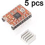 Gaoxing Tech. 5PCS A4988 Módulo del conductor del motor de pasos Stepstick + disipador de calor para el reprap de la impresora 3d (paquete de 5 PC)