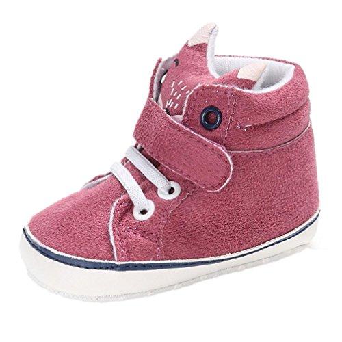 Schuhe Baby Xinan Kleinkind High Cut Sneaker Anti-Slip Soft Sole Shoes (6-12 Monate, Hot Pink)