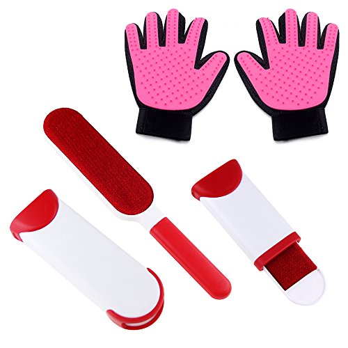 PET SPPTIES Guante Mascotas, Guante Quitapelos Mascotas, Guante Mascotas, Guante Perro,Manopla Gato,Guante Masaje PS008 (2 PCS With Fur Lint Brush-RED)
