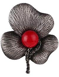 Rwdacfs Broche Dama Exquisita con Taladro Tres Hojas Loto Broche Broche Perla Rojo Seda Toalla Hebilla