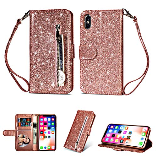 Coque iphone X, Housse en Cuir LaVibe PU Leather Etui Portefeuille à Rabat Glitter Clapet Support Fermeture éclair Porte Video Stand, Flip Wallet Protective Case Cover–Or Rose