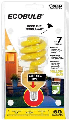 Feit Energiesparlampe bpesl13tc/Bug 13-watt Mini Twist gelb Bug Kandelaber Base entspricht Gluehbirne Light, gelb 13W 120V (Feit Glühbirnen)