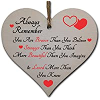 Handmade Wooden Hanging Heart Plaque Gift for Someone Special Inspirational Gift or Self Motivational Treat