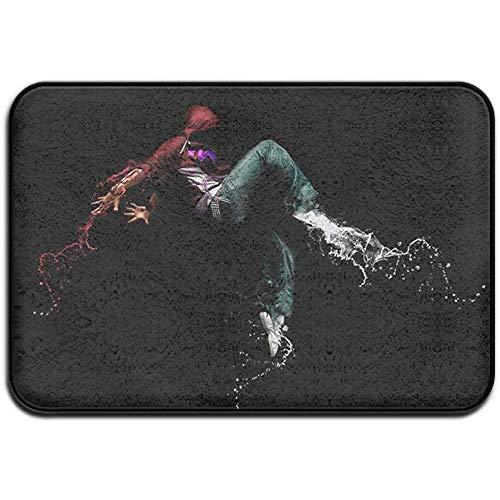 N/A Teppich 15,7 x 23,5 Zoll rutschfeste Flecken verblassen resistente Fußmatte Spray Farbe Hip Hop Outdoor Indoor Mat Raum Teppich
