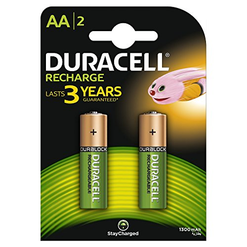 Duracell - Recharge - Piles Rechargeable AA - 1300 Mah - Pack de 2
