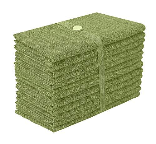 Baumwolle-Klinik 12er-Set Stoffservietten, 100% Baumwolle Servietten Weich Gemütlich Maschinenwaschbar - 50x50 cm Dunkel-Grün