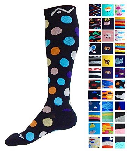 Kompression Socken (1Paar) für Damen & Herren von a-swift, Verlaufsfilter Athletic Fit für Running, Krankenschwestern, Flight Travel, Skifahren & die Mutterschaft Schwangerschaft Krampfadern DVT–Boost Ausdauer und Wiederherstellung -, Midnight Dots