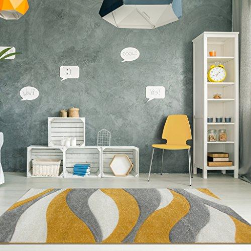 The Rug House Alfombra para Sala de Estar Color Ocre Mostaza y Amarillo con diseño Ondulado 120cm x...