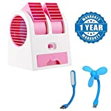 Quastro Mini Portable Dual Bladeless Small Air Conditioner Water Air Cooler Powered by USB & Battery with USB Mini Fan and Light