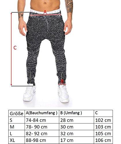 Joggingshose Sporthose von Raff & Taff Bikerstyle Zipper 1001 Hellgrau