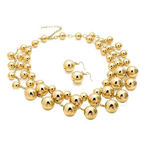 Damen Kostüm Modeschmuck goldfarben glänzend Ball Girls Halskette und (Kostüm Br)