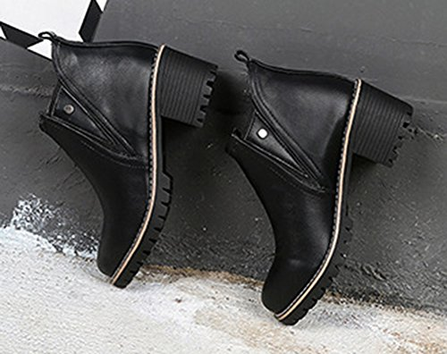 Aisun Femme Fashion Cheville Low Boots Talon Bloc Moyen Equitation Bottes Noir