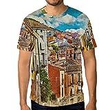 ALAZA Uomo Colorati Spagna Strade ed edifici Pittura T Shirt Manica Corta Casuale Girocollo Tee XX-Grande Multi