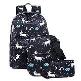 FEWOFJ Escuela Mochila Chicas Backpack Casual Set Mochilas/Rucksack + Bolso del mensajero + Monedero (Negro Unicornio)