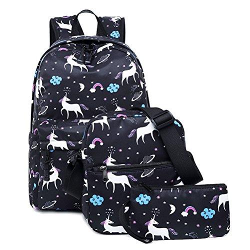 FEWOFJ Tela Zaino Casual Scuola Zaini Donna Ragazza Backpack Zainetto 3 in 1 Zaini + Borsa a tracolla + Astuccio (Nero Unicorno)