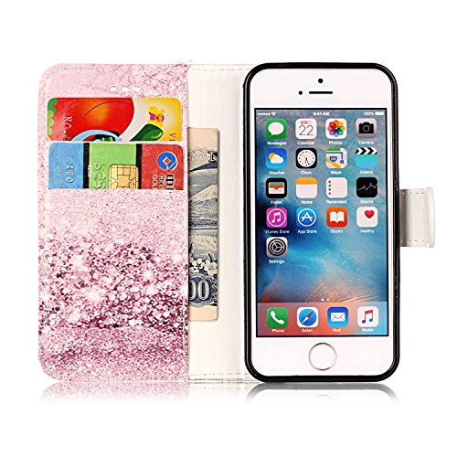 iPhone SE Hülle iPhone 5s Hülle iPhone 5 Hülle,Cozy Hut Case / Cover / Handyhülle für iPhone 5s / iPhone 5 / iPhone SE Schutzhülle, Kunstleder Ledertasche Schutzhülle Case Tasche,Bunte Drucken Muster  Rose Gold