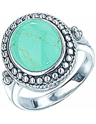 ovaler Barock-Ring mit echtem Tuerkis, Sterling Silber