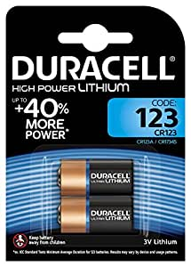 Duracell CR123A, DL123A, EL123A, CR17345 Ultra Photo Lithium Batteries, 2 Pcs
