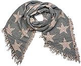 styleBREAKER Damen XXL Schal mit Sterne, Perlen und Fransen, Winter Strickschal 01017100, Farbe:Grau-Altrose