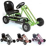 Hauck T90105 Lightening Go-Kart - Coche con pedales de juguete (metal, plástico y acero, 90,6 x 53 x 22,4 cm), color verde y negro