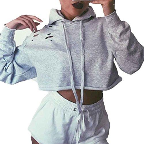 MRULIC Pullover Tops Bluse Sexy Frauen Spitzenbluse Schulterfrei Langarm-Shirt Top Frauen-Kapuzenpulli-Sweatshirt-Pullover-Ernte-Oberseiten-Mantel-Sport-Pullover-Oberseiten (S, Grau) (Ernte Gerippte)
