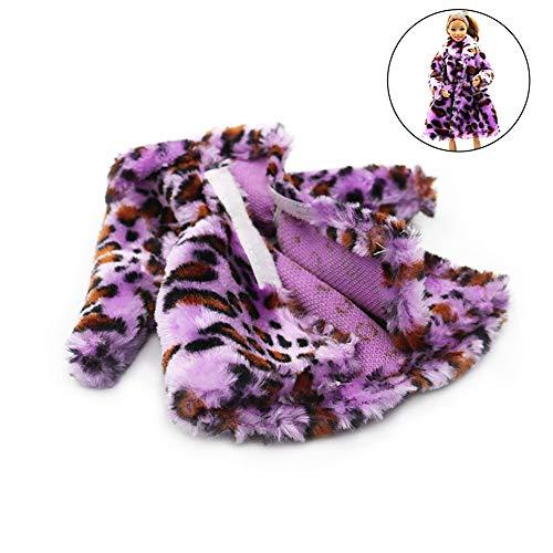 NiceButy Escudo 1PC del diseño Moderno de Barbie Felpa del Vestido Largo Abrigo Traje para Barbie Decoración de la muñeca (púrpura) Juguete Divertido para los niños