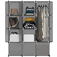 LANGRIA 12-Cube Cabinet Storage Unit Organiser for Kids Stackable Plastic Cube Shelves Multifunctional Modular Cupboard Wardrobe with Animal Cartoons on Doors for Clothes Shoes Toys School Bags (Grey)