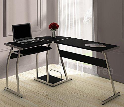 Abreo L Shape Corner Computer Desk Table PC Workstation Home Office Furniture (L Shape Black)