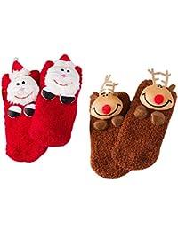 2 Pairs 3D Christmas Socks for Baby - DesignerBox Fuzzy and Soft Christmas Birthday Plush Socks with Santa Claus Elk Tree Snowman (Santa+Elk)