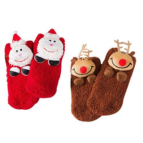 2Paar 3D Weihnachten Socken für Baby-Designerbox Fuzzy und weich Weihnachten Geburtstag Plüsch Socken mit Santa Claus Elch Baum Schneemann