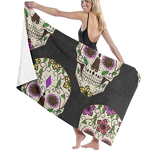 ellow Floral Flower Skull Halloween Black Personalized Custom Women Men Quick Dry Lightweight Beach & Bath Blanket Great for Beach Trips, Pool, Swimming and Camping 31
