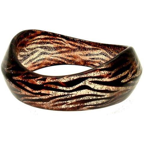 Acosta-Resina & Glitter in resina, stampa tigre di Animal Fashion Jewellery-Bangle/Bracciale, motivo astratto