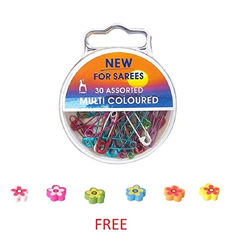 Pony Special multicolored Saree Safety Pins , In A Plastic Box ,...