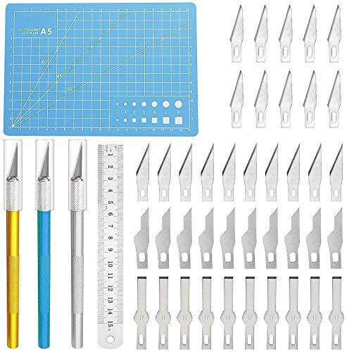 Precision Craft Hobby Messer Kit Enthält 40 Stück Schnitzklingen mit 3 Griffen,1 Schneidebrett,1 Stahllineal für das Schneiden von Kunstwerken,Hobby,Sammelalbum -
