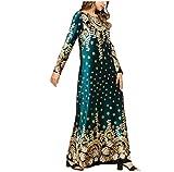 Musulmán Ropa Falda Larga Vestidos de Mujer Abayas Islámico Invierno Calentar Arabe Disfraz Verde M
