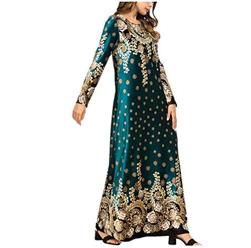Zhxinashu vestiti musulmani gonna lunga abiti femminili abaya islamico abiti da donna inverno caldo arabo costume verde m
