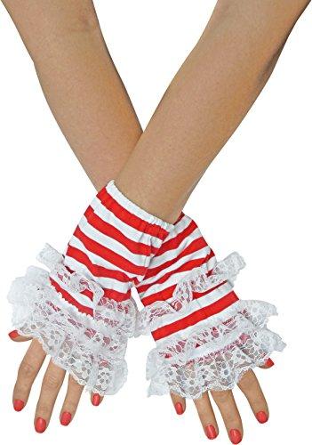 Handstulpen Ringel mit Spitze Rot Blau Schwarz Handschuhe (Rot / (Kostüme Rote Brille)