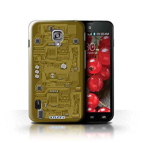 Kobalt® Imprimé Etui / Coque pour LG Optimus L7 II Dual / Bleu conception / Série Circuit Board Jaune