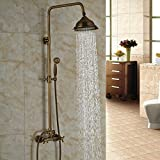 Juego de ducha grifo latón envejecido Rozinsanitary 20,32 cm ducha bañera grifo monomando de pared manijas duales