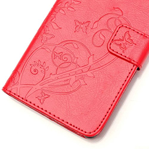 iPhone Case Cover Peint de couleur motif portefeuille style cas magnétique conception flip folio PU Housse en cuir couvrir cas standup pour iPhone 5S SE ( Color : Red , Size : IPhone 5S SE ) Red