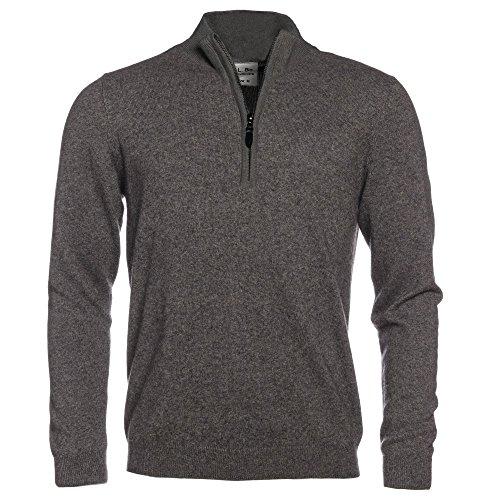 L. Bo Apparel, Cozy Collection: Pullover da Uomo con Zip e Collo alto color Grigio scuro, Cashmere e Lana S